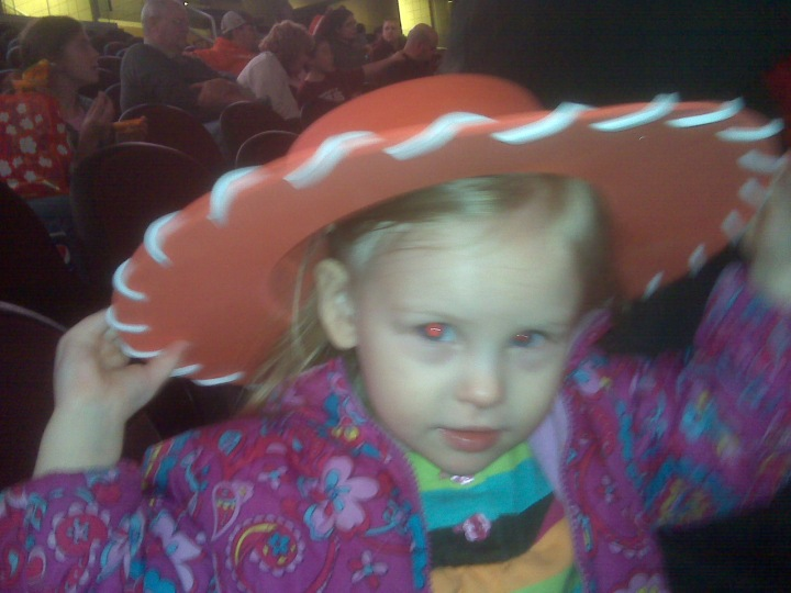 Grace in a Toy Story 3 Jessie hat